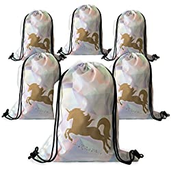 Unicorn Party Favor Bags - 6 Pack Large Rainbow Drawstrings Backpacks - Perfect Birthday Supplies for Girls uMicorns