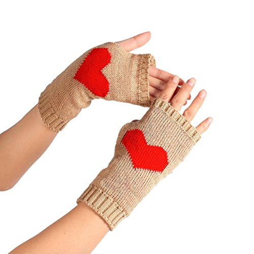 Sunfei Winter Wrist Arm Hand Warmer Knitted Long Fingerless Gloves Mitten (Khaki) (Arm Warmer Windstopper)