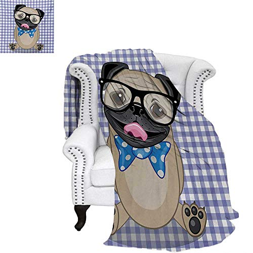 warmfamily Pug Custom Design Cozy Flannel Blanket Nerdy Glasses and Dotted Bow Tie on a Puppy Pug with a Checkered Backdrop Weave Pattern Blanket 70