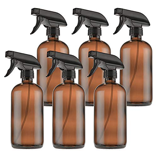Empty Amber Glass Spray Bottles with Labels (6 Pack) - 16oz Refillable Container for Essential Oils, Cleaning Products by THETIS Homes