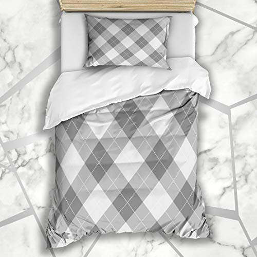 Twin Argyle Six Sock - Ahawoso Duvet Cover Sets Twin 68X86 Grey Argyle Pattern Diamond Shapes Abstract Plaid Classic Geometric Retro Socks Design Microfiber Bedding with 1 Pillow Shams
