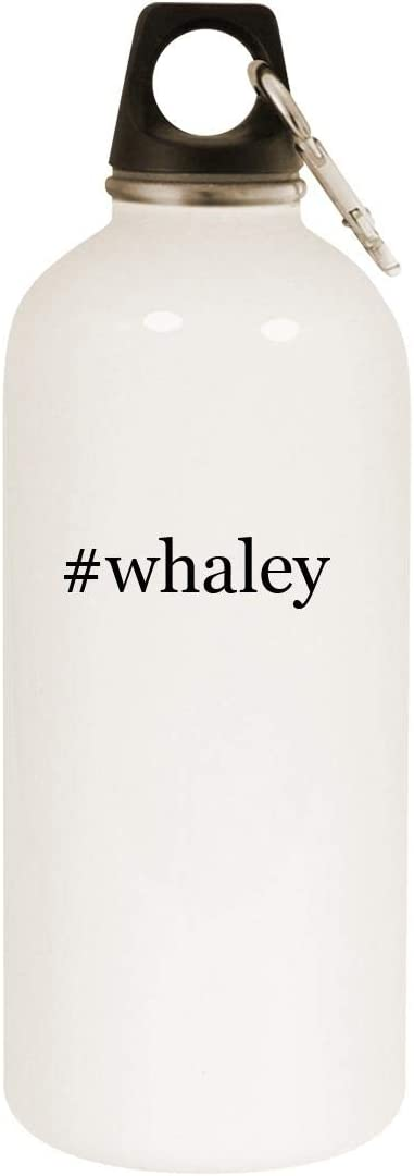 #whaley - 20oz Hashtag Stainless Steel White Water Bottle with Carabiner, White