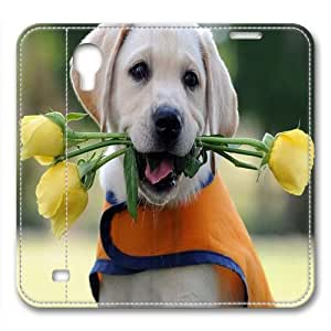 Samsung Galaxy S4 leather case,Dog flower Custom design high-grade leather, leather feel will never fade
