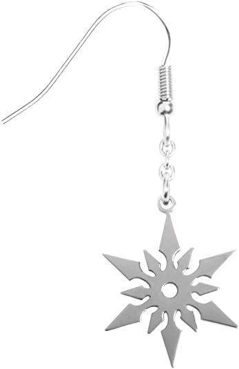 Ninja Star Earrings - Collectible Jewelry Accessory Dangle Studs Jewel