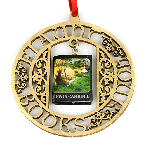 ALICE IN WONDERLAND Lewis Carroll Clay Mini Book FRAMED Home Decor Ornament by Book Beads