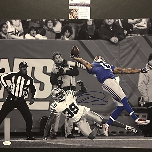 Autographed/Signed Odell Beckham Jr. The Catch New York Giants Spotlight 16x20 Football Photo JSA COA #3 by...