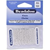 Beadalon Chain Dapped Small Cable Silver Plated, 2-Meters
