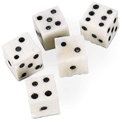 Luck of The Lich Bone Dice | Set of 5 Hand-Carved Camel Bone 10mm Mini Dice | Premium Accessory for Tabletop Gaming, Roleplaying, & Classic Family Board Games | Made of Genuine Bone: Toys & Games