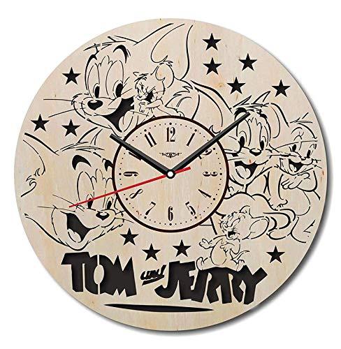 Buy Tom And Jerry Wall Clock Eco Wood Unique Gifts Ideas Original Presents Home Decor Wall Art Design Living Room Kitchen Bedroom Kids Silent Quartz Movement 12 Inch Online