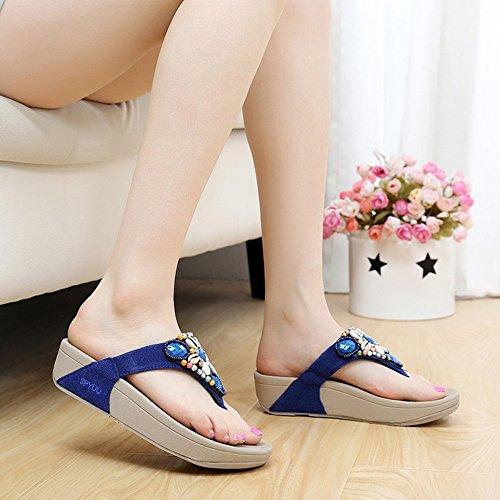 LIXIONG Portátil Zapatillas de mujer Flip-Flops Verano Caucho Casual Plataforma Talón Azul Verde Rosa -Zapatos de moda ( Color : Pink , Tamaño : EU36/UK4/CN36 ) Azul