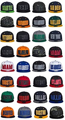 American Cities USA Sports City State Reflective Letters and Bill Snapback Cap Hat Snap