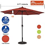 Sundale Outdoor 9 Ft Sunbrella Fabric Patio Garden Market Umbrella, Push Button Tilt and Crank (Terracotta) For Sale