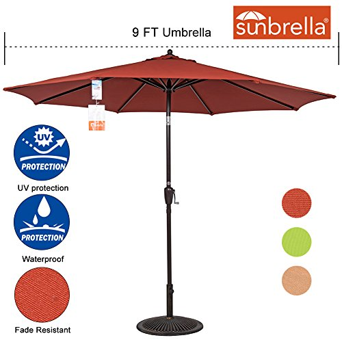 Sundale Outdoor 9 Ft Sunbrella Fabric Patio Garden Market Umbrella, Push Button Tilt and Crank (9' Diameter Market Umbrella)
