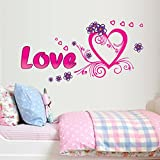 Romantic LOVE Letter Heart Peaches Pattern PVC Vinyl DIY Wall Stickers Living Room Bedroom Bedside Wedding Room Decals Mural (style 4)