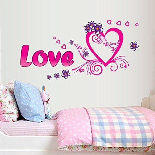 Romantic Peach - Romantic LOVE Letter Heart Peaches Pattern PVC Vinyl DIY Wall Stickers Living Room Bedroom Bedside Wedding Room Decals Mural (style 4)