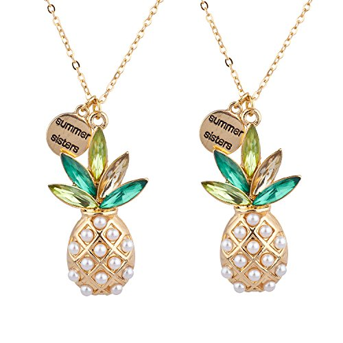 Gold Tone Pearl Charm - Lux Accessories Gold Tone Summer Sisters Pearl Pineapple BFF Necklace Set