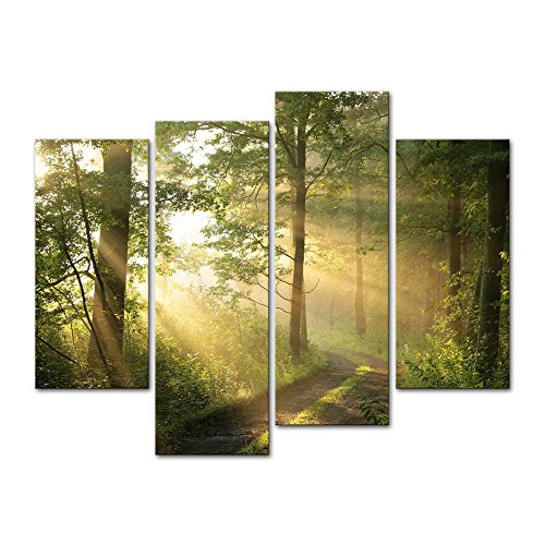 4 Pieces Modern Canvas Painting Wall Art The Picture for Home Decoration Dirt Road Deciduous Forest Green Trees Foggy Morning Spring Landscape Forest Print On Canvas Giclee Artwork for Wall Decor ()