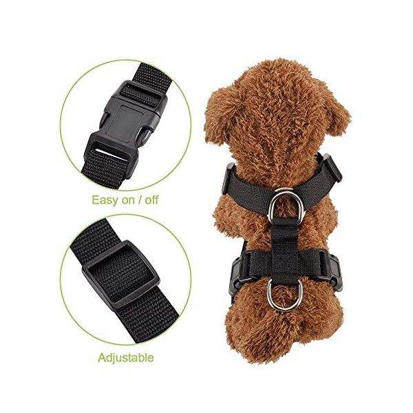 SlowTon Dog Car Harness Plus Connector Strap, Multifunction Adjustable Vest Harness Double Breathable Mesh Fabric with Car Vehicle Safety Seat Belt .(Dark Blue, Medium) 4