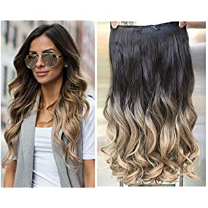 Thick One Piece Ombre Clip in Hair extensions Long Wavy Curly Synthetic Hairpieces (Col. Darkest brown/Dirty blonde) DL