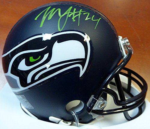 Lynch Football Autographed Marshawn - Marshawn Lynch Autographed Seattle Seahawks Mini Helmet In Green ML Holo Stock #106235