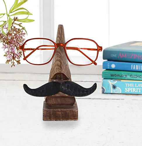 storeindya Funny Eyeglass Holder with Mustache. Fun and Practical Wooden Spectacle Stand Quirky Nose and Mustache Shaped Handmade Display Glasses Accessories