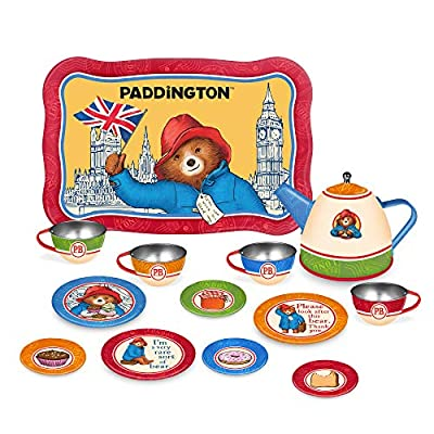 YOTTOY Paddington Bear Collection | 14-Piece Kid's Tin Tea Set Toy w/ Illustrations for Boys & Girls: Toys & Games
