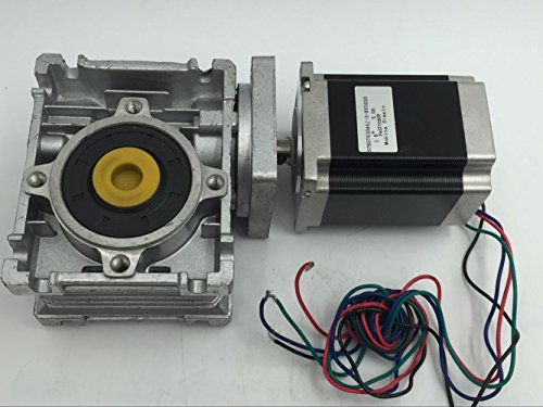 Gear Ratio 30:1 Worm Gearbox Nema 23 Stepper Motor 4 leads 3A L76mm with 14mm Output Shaft for CNC Engraving Milling Machine