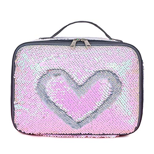 (Manicer Sequin Lunch Box, Insulated Sparkle Lunch Bag Flip Color Change Reversible Fashion Lunch Tote, Ideal for Girls, Women and Kids - Laser Silver + Pink)