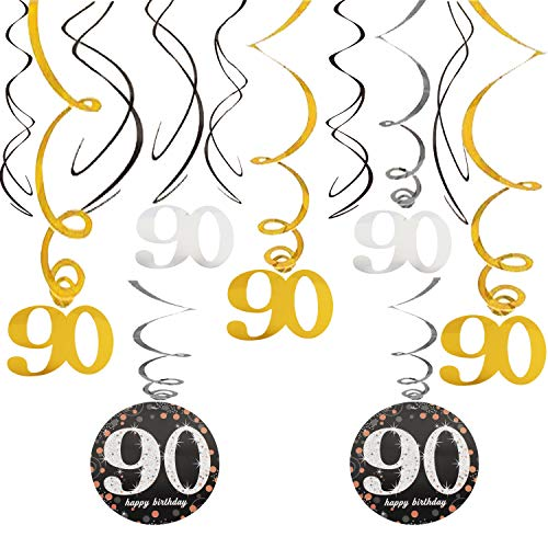 90th Happy Birthday Swirls Foil Gold Black