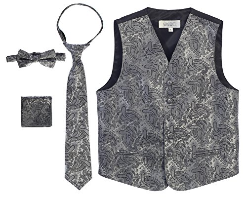 Gioberti Boy's 4 Piece Formal Paisley Vest Set, Gray, Size 14