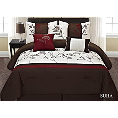 Fancy Collection 7-pc Embroidery Bedding Brown Off White Burgundy Comforter Set (King)