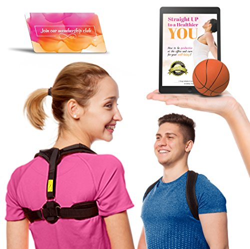 Prego Premium Posture Corrector Brace - Back Pain & Discomfort Relief - Adjustable & Comfortable Posture Improvement Clavicle Brace - Unisex Design For Men & Women - Stress Ball & - Metal Black Vice