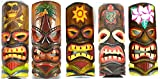 SET OF 5 HAND CARVED POLYNESIAN HAWAIIAN TIKI STYLE MASKS 12 IN TALL turtle pineapple colorful flower parrot