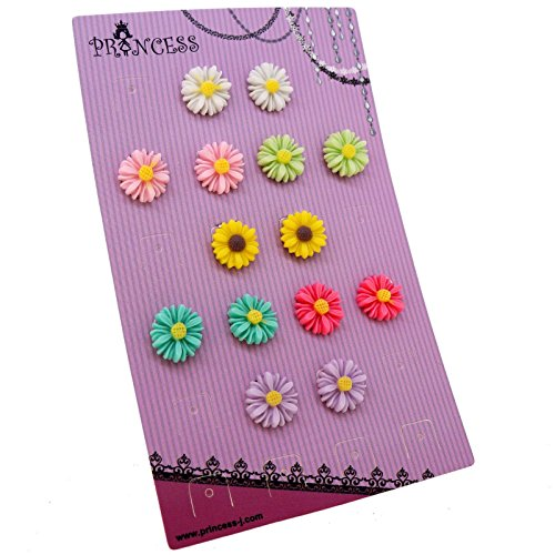 Princess-J Multi Color Flower Clip-On Earrings Fashion Jewelry, for Kids, Teen Girls, Womens (Daisy Flower)