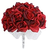 Red Silk Rose Hand Tie (36 Roses) - Silk Bridal Wedding Bouquet