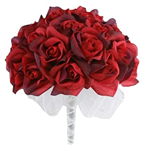 Red Silk Rose Hand Tie (36 Roses) - Silk Bridal Wedding Bouquet 50