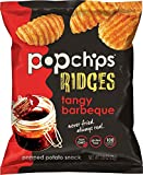 Popchips Ridged Potato Chips, Tangy BBQ Potato Chips, 24 Count Single Serve Bags (0.8 oz), Gluten Free, Low Fat, No Artificial Flavoring