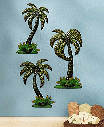 Palm Tree Wall Decor Metal Set of 7 Outdoor Indoor Fence Porch Sculpture