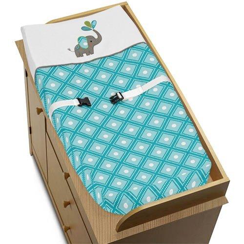 Sweet diseños Jojo Turquesa Blanco y Gris Mod elefante bebé niña o niño cambiador Cover
