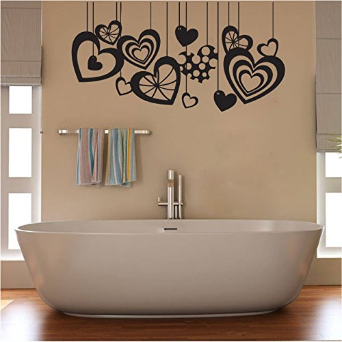 Hanging Hearts Vinyl Wall Words Decal Sticker ()