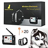 Blingbling Petsfun Electric Wireless Dog Fence System, Pet Containment System and Pets with Waterproof and Rechargeable Training Collar Receiver for 1 Dogs Boundary Container(with 20 Flags)