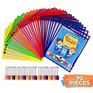 Dry Erase Pockets by Savvy Brain – 70-Piece Teacher Organization Supply Kit – 35 Reusable Clear Sheet Protectors & 35 Colorful Erasable – Worksheet Sleeves & Over 2000 Downloadable Worksheets