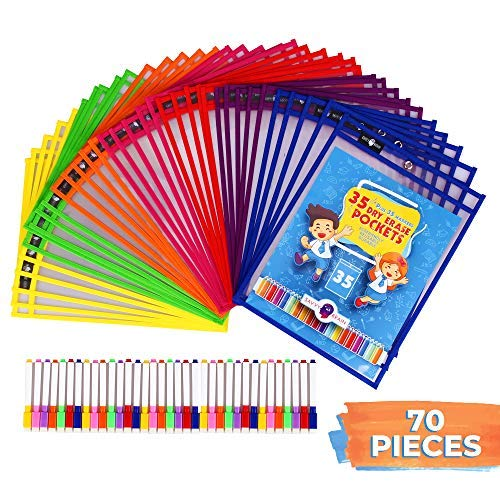 Savvy Brain – 70-Piece Teacher Organization Supply Kit – 35 Reusable Clear Sheet Protectors & 35 Colorful Erasable – Worksheet Sleeves & Over 2000 Downloadable Worksheets ()