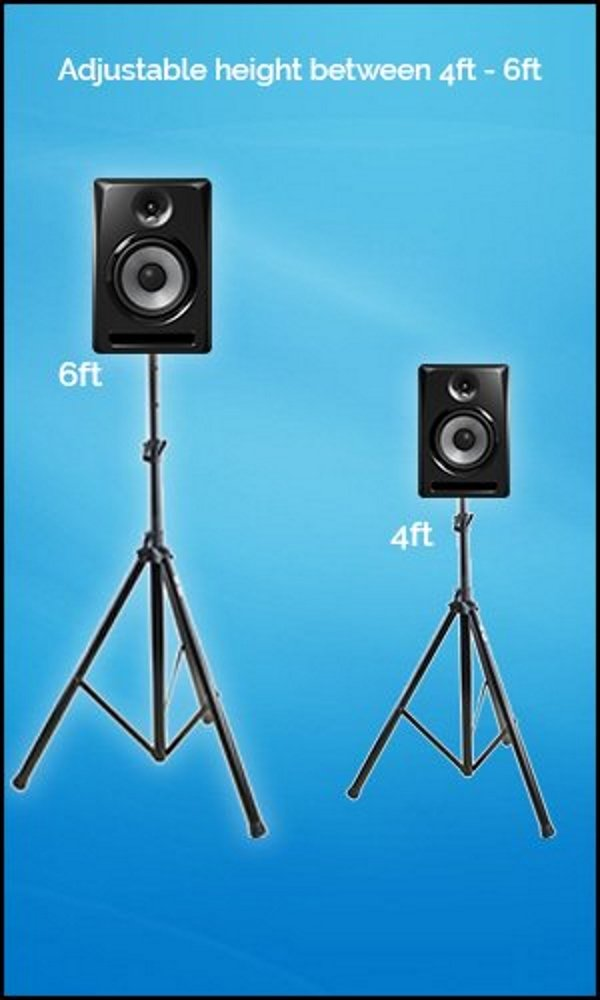 PAIR of PA Speaker Stands by Hola! Music, HPS-200PA, Adjustable Tripod Height 4ft to 6ft by Hola! Music (Image #3)