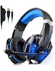 Upgrade Gaming Headset for Xbox One, PS4, PC Controller, DIZA100 Noise Cancelling, Nintendo Switch (Audio) PC Gaming Headphones with Microphone, LED Lights