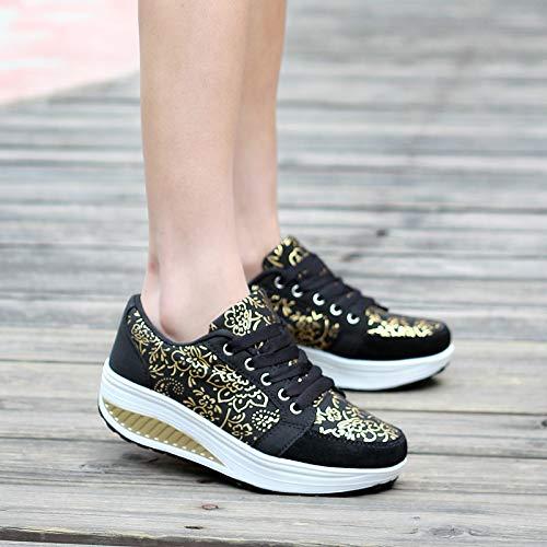 Deporte Qiusa Mujer Negro Rocker Tamaño De Eu Estampados Casual color Suela Zapatillas Zapatos 39 Cordones Con Negro qwaUarSX