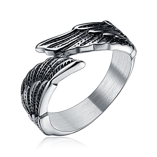 TIGRADE Stainless Steel Men's Women's Feather Angel Wing Cast Black Silver Ring Band Comfort Fit Size 6-11 - Wings Gothic Angel