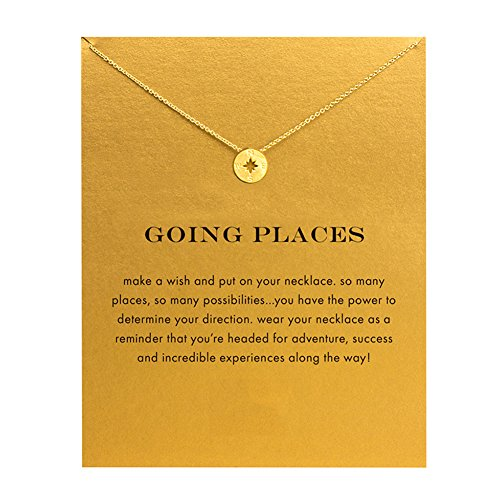 Engraved Disc - Spiritlele Stainless Steel Engraved Disc Compass Pendant Necklace with Message Card for Women Girls Gold