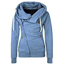 DOKER Women's Personality Oblique Zipper Hoodie Sweater Coat