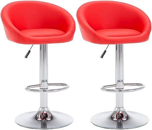 Vidaxl 2x Chaise De Bar Similicuir Rouge Bistrot Cuisine